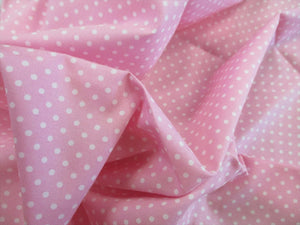 White 3mm Polka Dots on a Pink Background 100% Cotton Fabric