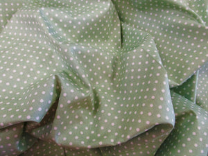 White 3mm Polka Dots on a Sage Green Background 100% Cotton Fabric