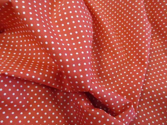 White 3mm Polka Dots on a Sienna Background 100% Cotton Fabric