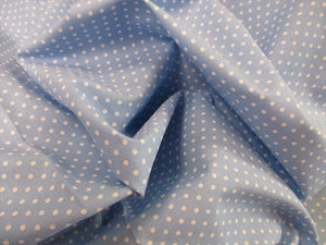 White 3mm Polka Dots on a Sky Blue Background 100% Cotton Fabric