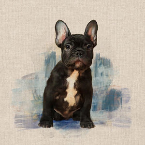 "Pop Art Prints Linen Digital Panel French Bull Dog on a Natural Background 45cm x 45cm (18""x18"") 80% Cotton 20% Polyester"
