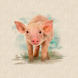 "Pop Art Prints Linen Digital Panel Little Piglet on a Natural Background 45cm x 45cm (18""x18"") 80% Cotton 20% Polyester"