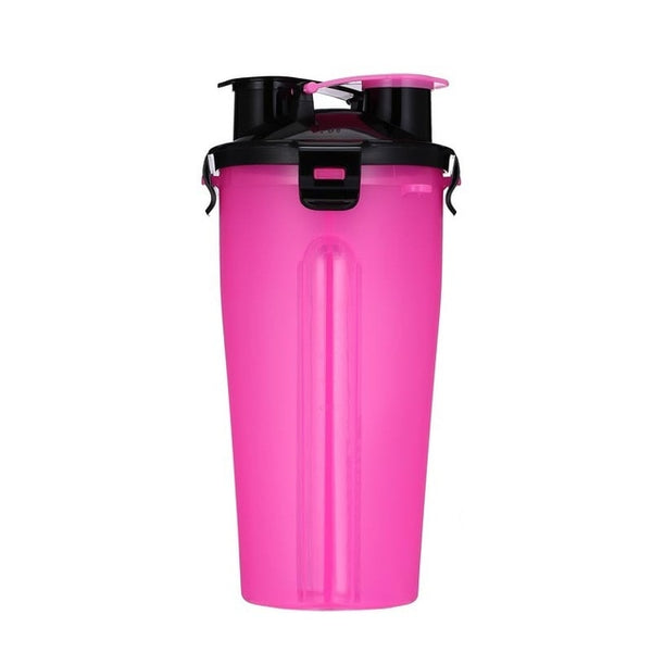 2 in 1 Travel Water and Food Bottle  - with Collapsible Bowl Add ons