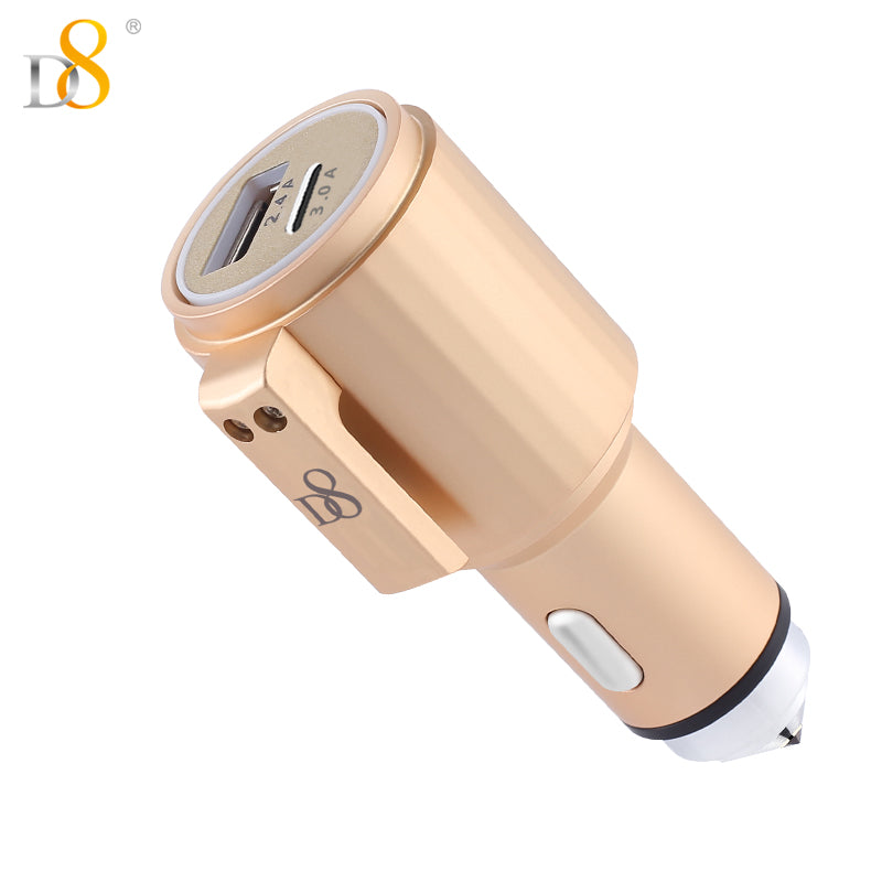 Safety hammer II Survivor USB & Type-C port car charger