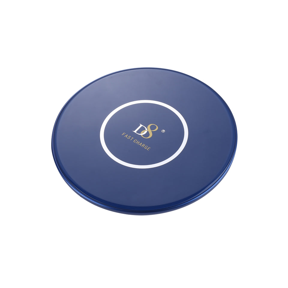 Blue Glass and Aluminum Wireless Charger
