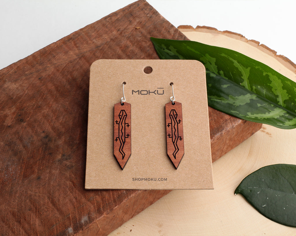 Gecko Wooden Earrings