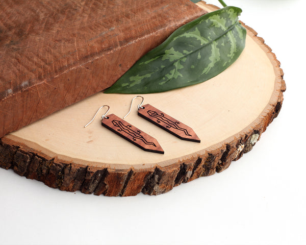 Gecko | Wood Earrings | Eucalyptus
