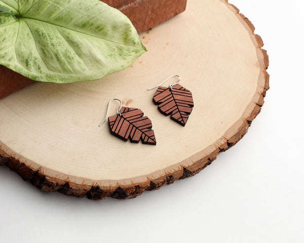 Palm Leaf Wooden Earrings