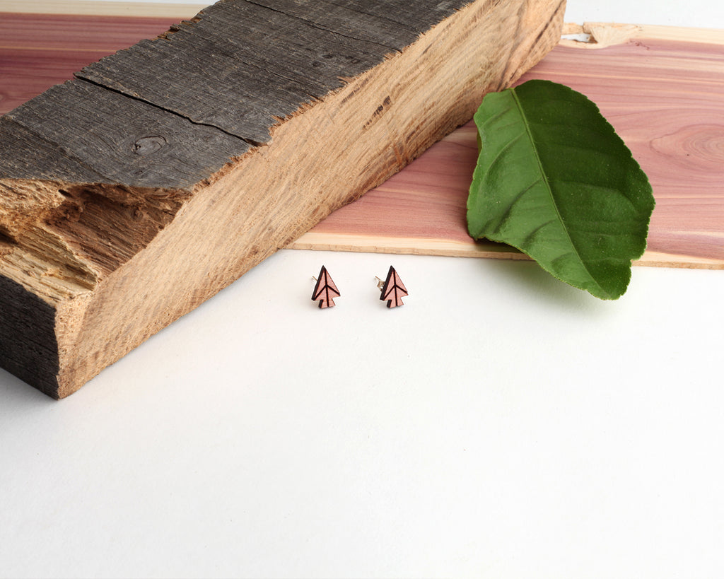 Arrowhead | Wood Stud Earrings | Hackberry and Cedar