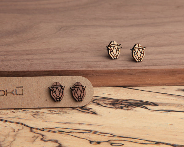 Bison | Wood Stud Earrings | Hackberry and Walnut