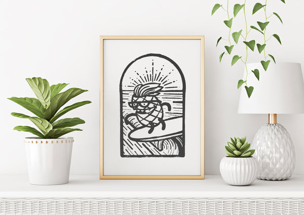 Pineapple Surfer Wood Block Print