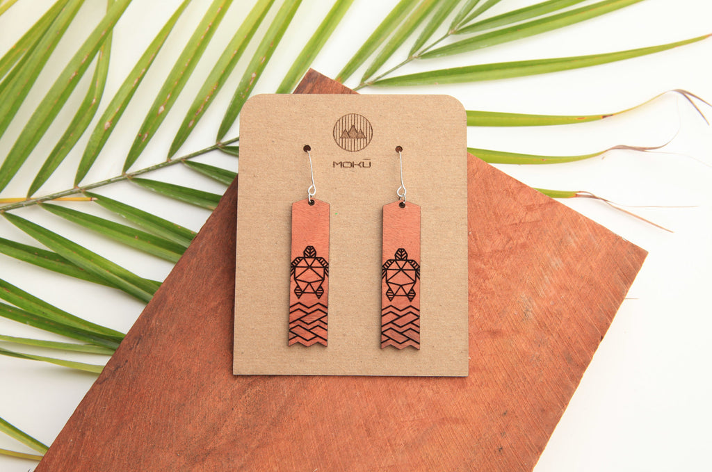 Honu Shoreline | Wood Earrings | Eucalyptus