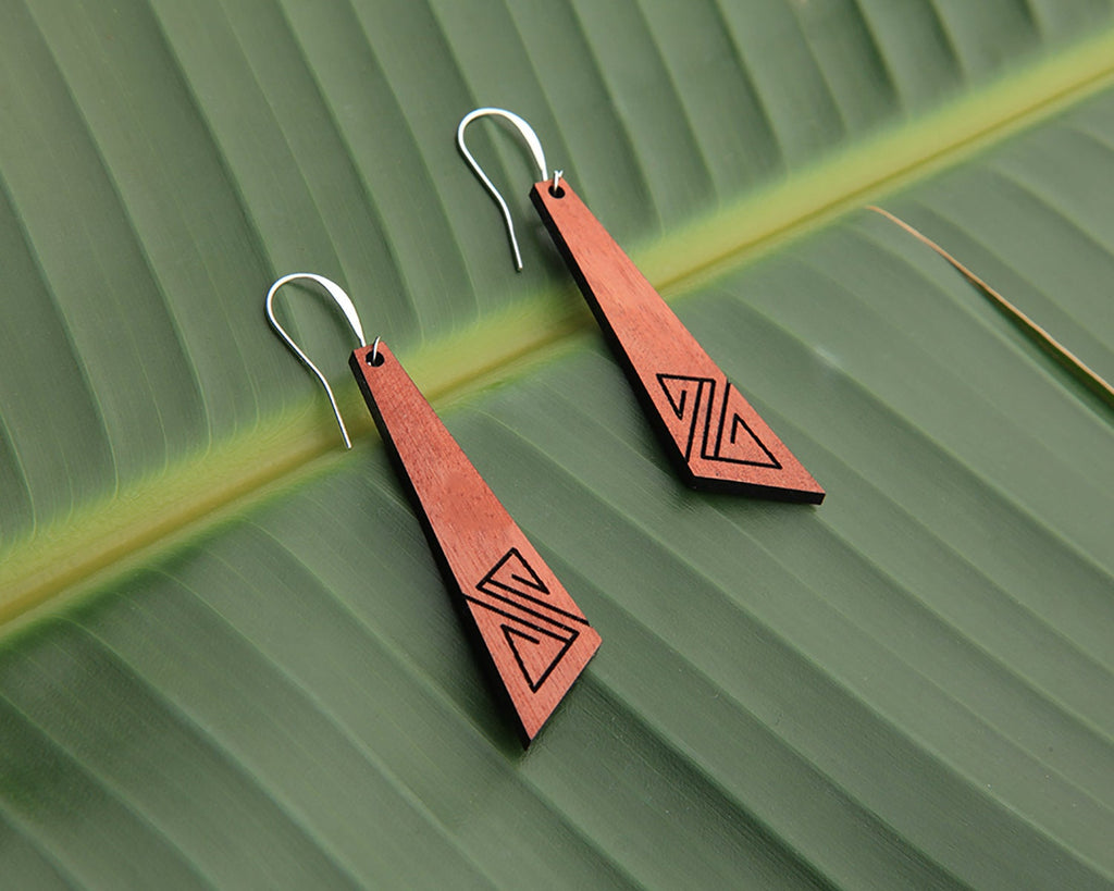 Surf | Wood Earrings | Eucalyptus and Hackberry