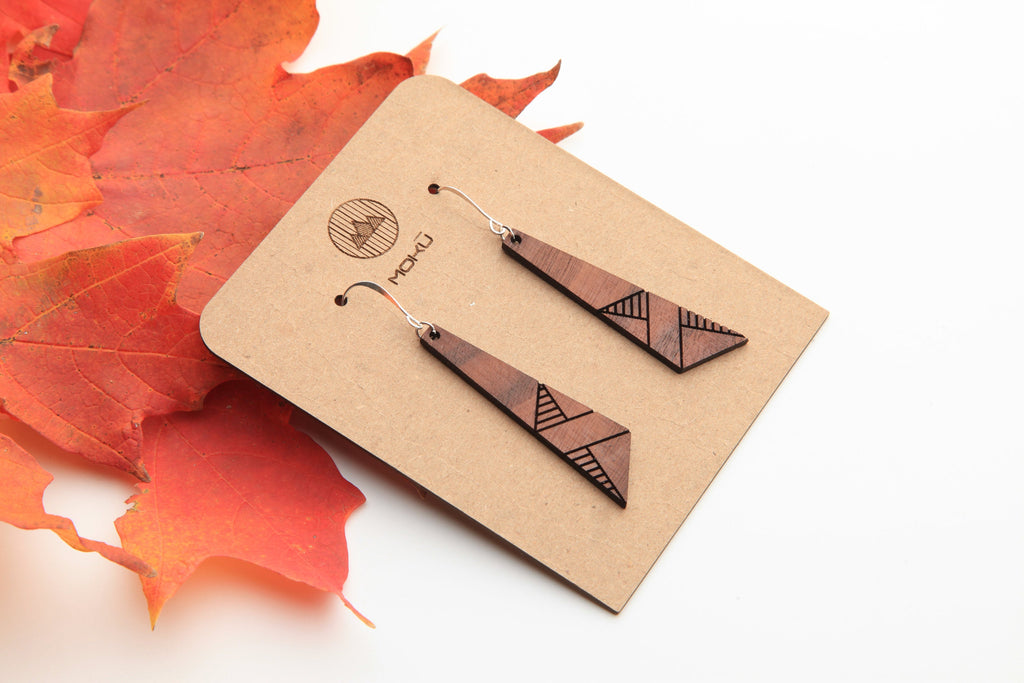Modern | Wood Earrings | Osage Orange & Walnut