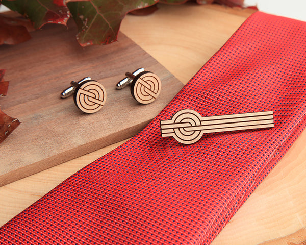 Maple Wood | Banded | Cuff Link & Tie Clip Set