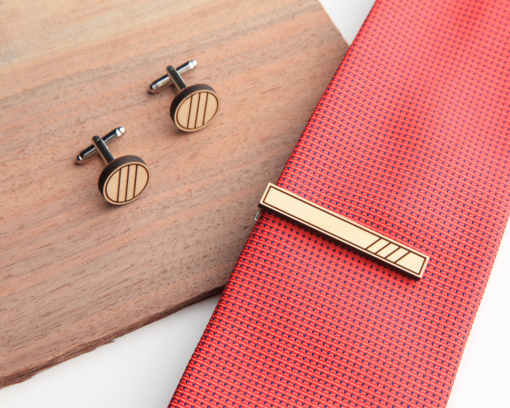 Ekolu | Tie Bar & Cufflink Set | Maple