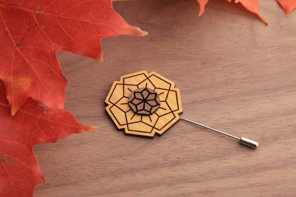 Wood Lapel Flower | Geometric | Eucalyptus, Walnut and Osage Orange