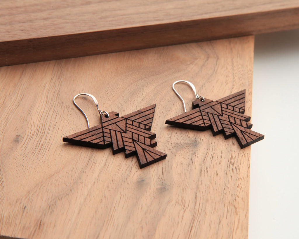 Wood Earrings | Falcon | Walnut & Oak