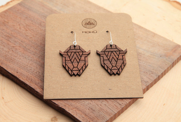 Bison | Wood Earrings | Walnut and Oak