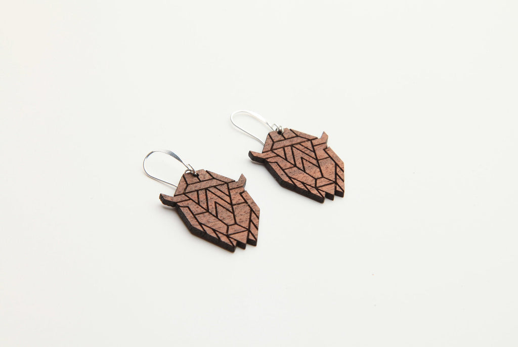 Wood Earrings | Bison | Walnut and Oak