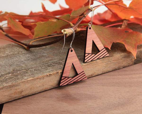 Valley | Wood Earrings | Cedar and Walnut