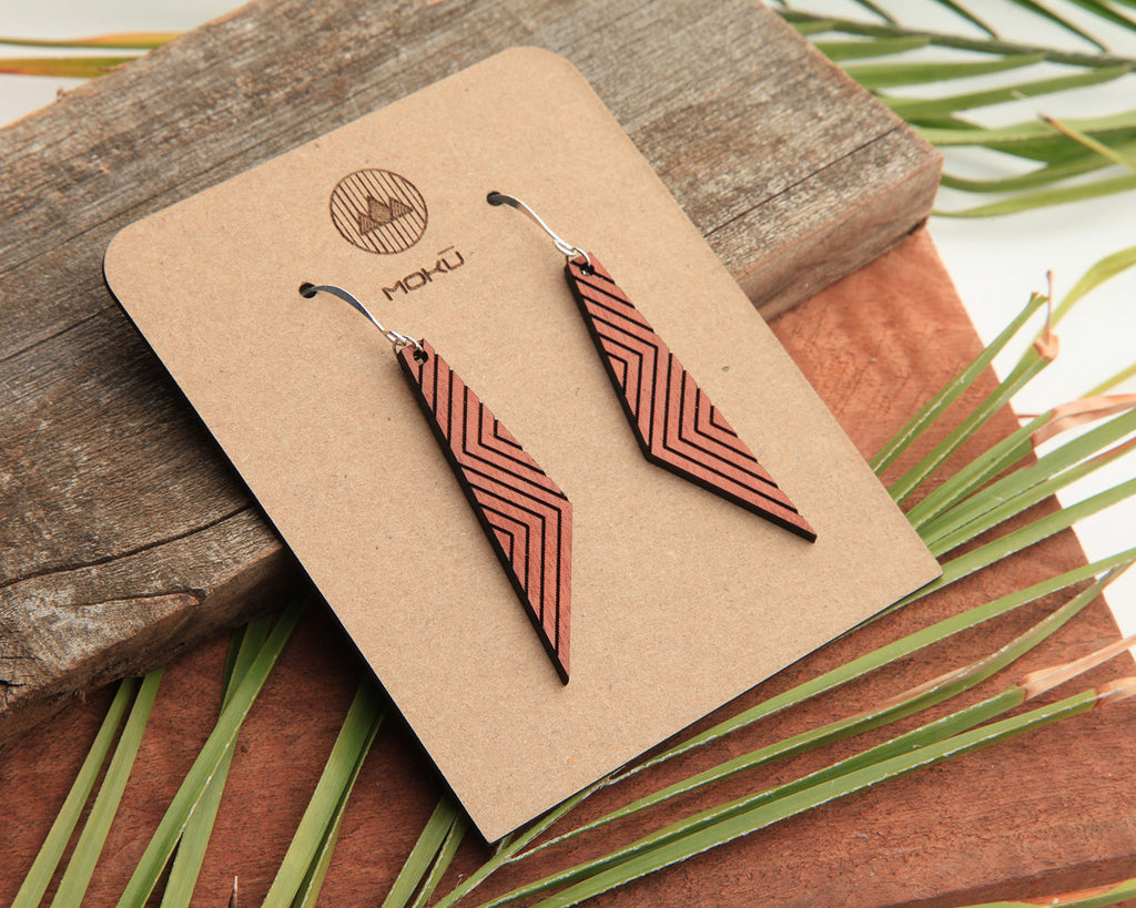 Wood Earrings | Zigzag | Eucalyptus and Osage Orange