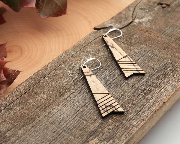 Wood Earrings | Element | Hackberry and Cedar