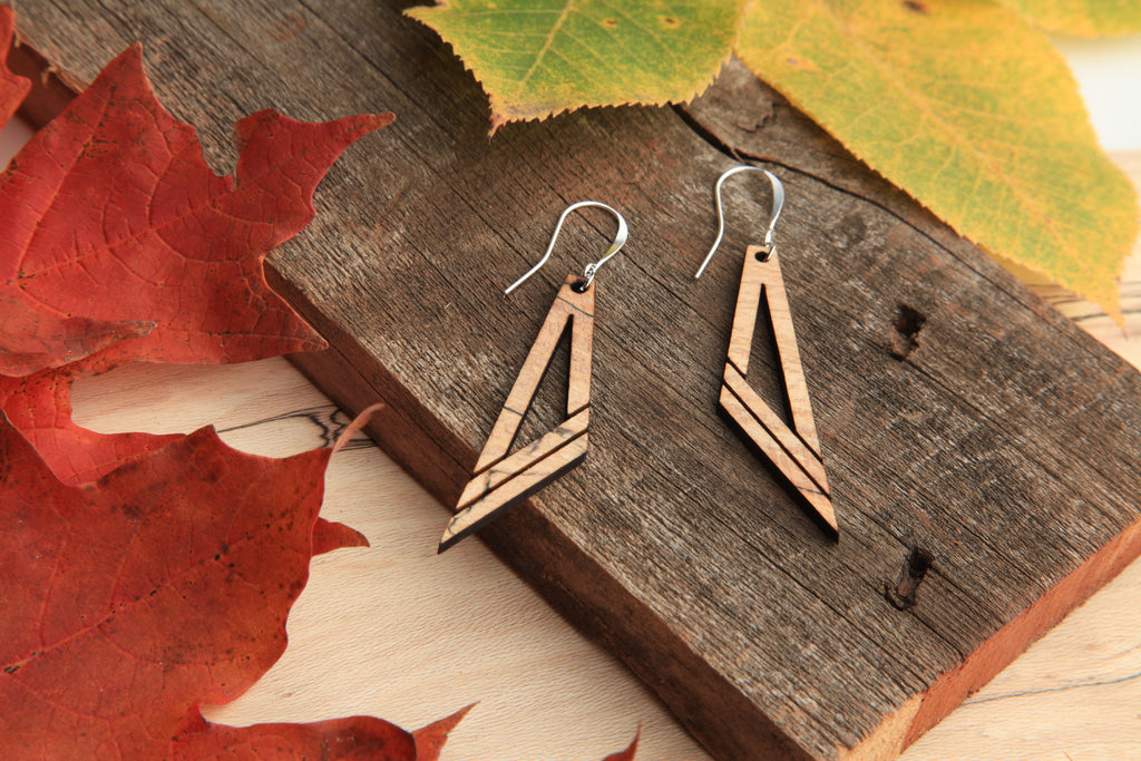 Diagonal | Wood Earrings | Hackberry and Walnut