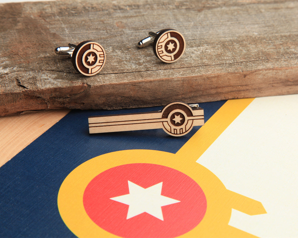 Tulsa Flag | Tie Bar & Cufflink Set | Maple