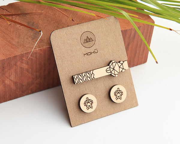 Maple Wood | Honu | Cuff Link & Tie Clip Set