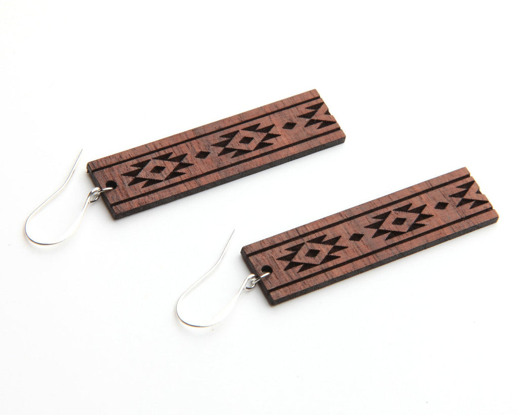 Diamondback | Wood Earrings | Walnut and Oak