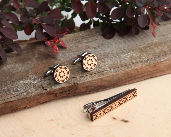 Maple Wood | Diamondback | Cuff Link & Tie Clip Set
