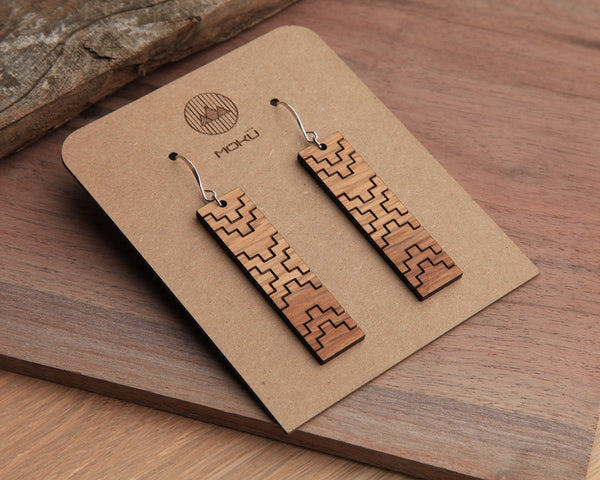 Thunder | Wood Earrings | Walnut and Oak