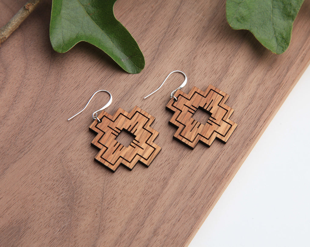 Compass Wooden Earrings