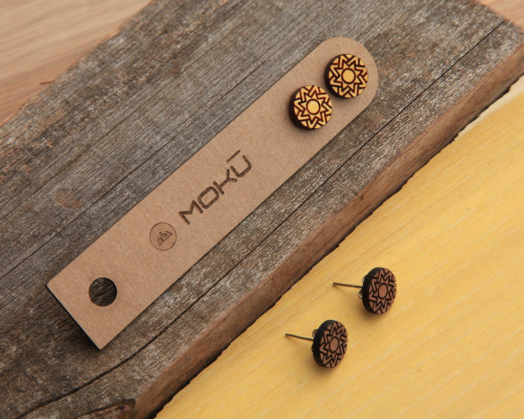 Sol | Wood Stud Earrings | Osage Orange and Walnut