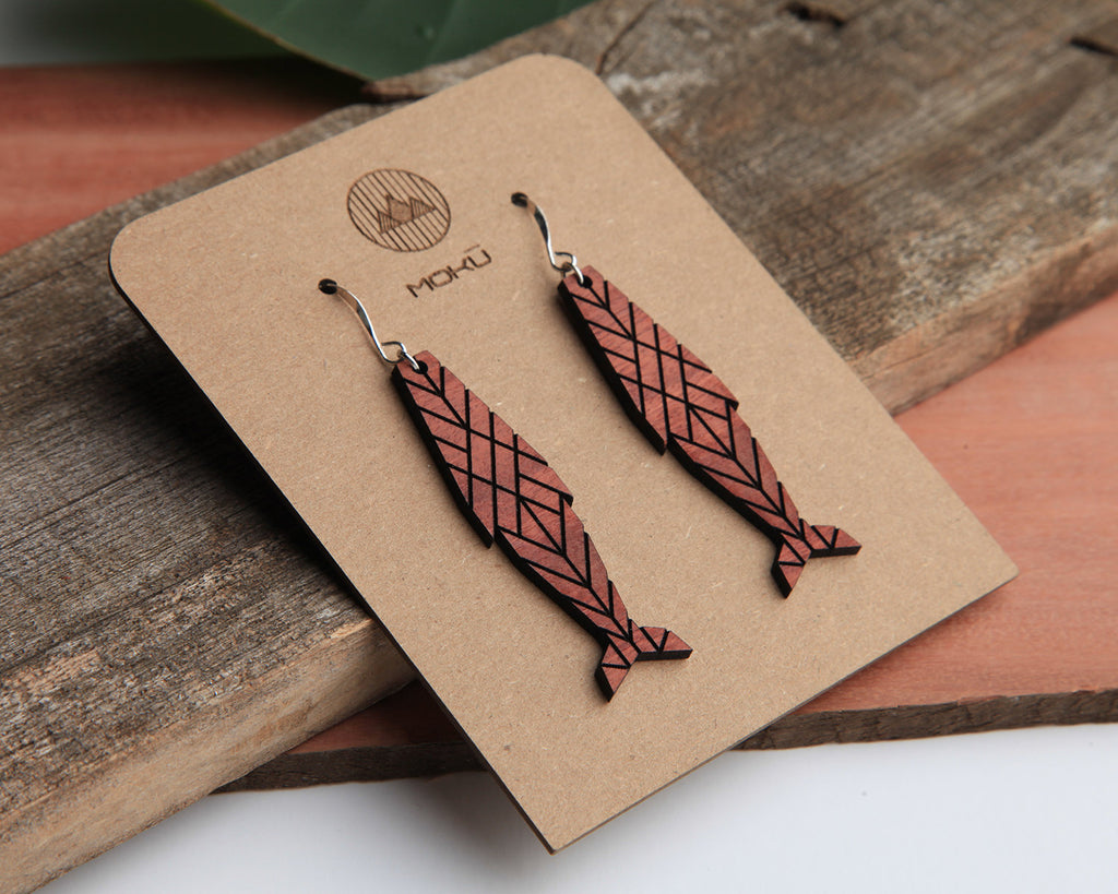 Kohola Whale Wooden Earrings