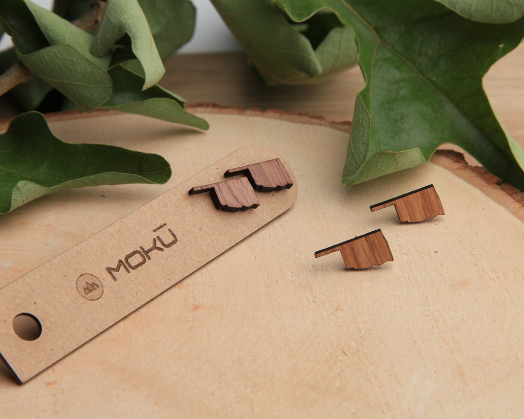 Wood Stud Earrings | Oklahoma | Walnut and Oak