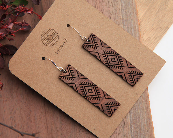 Moccasin | Wood Earrings | Walnut and Oak
