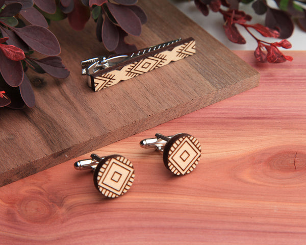 Maple Wood | Moccasin | Cuff Link & Tie Clip Set