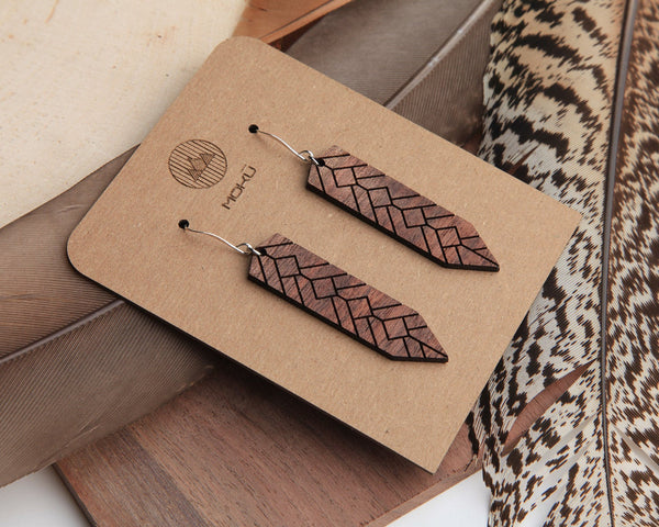 Wood Earrings | Feather | Walnut and Oak