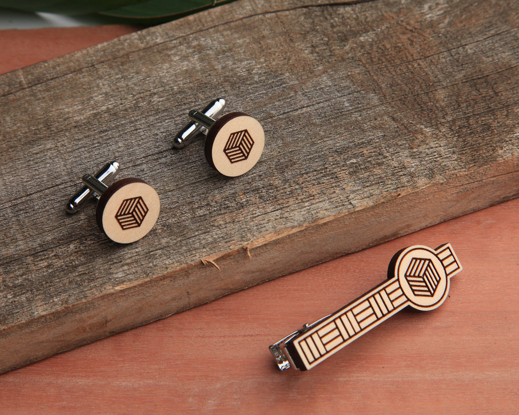 Maple Wood | Cube | Cuff Link & Tie Clip Set