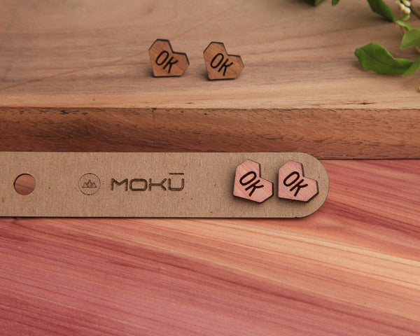 Wood Stud Earrings | State Heart | Cedar and Oak
