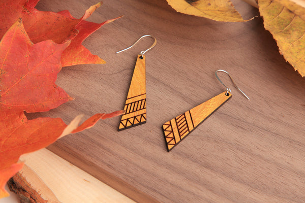 Tradition | Wood Earrings | Osage Orange and Walnut