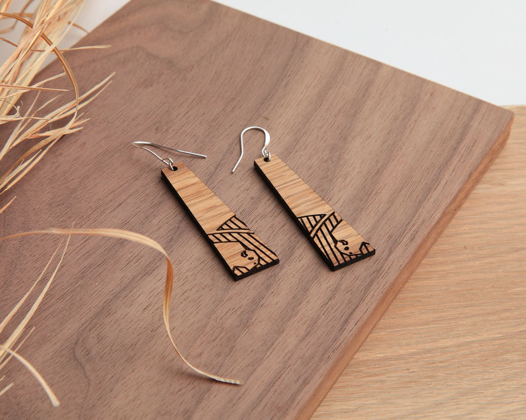 Wood Earrings | Tall Grass Prairie | Walnut and Post Oak