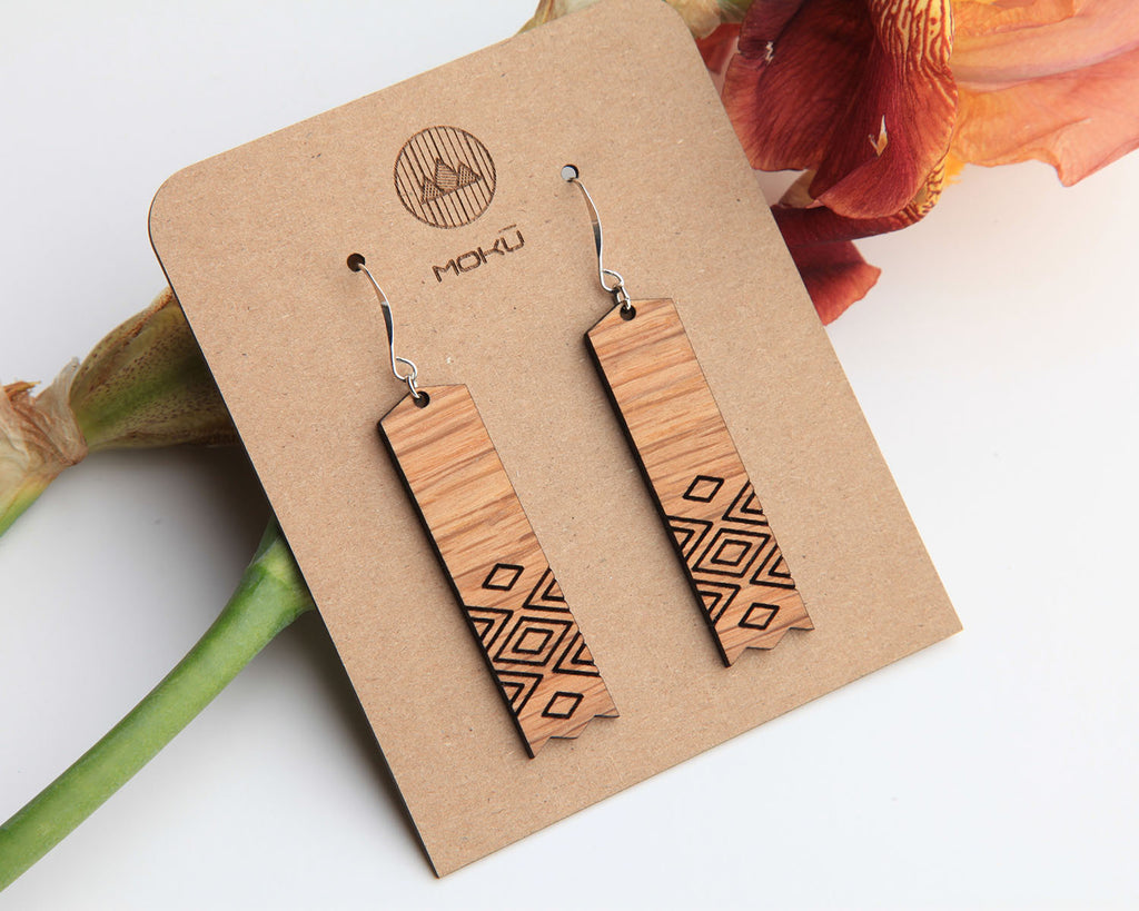 Wood Earrings | Reflection | Walnut and Oak