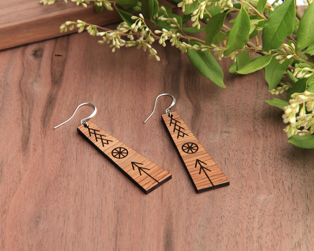 Wood Earrings | Peace | Walnut and Oak