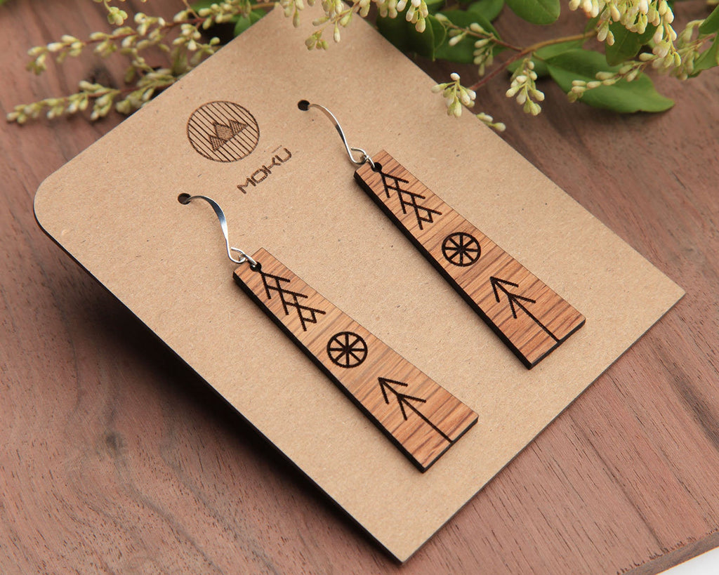 Peace | Wood Earrings | Walnut and Oak