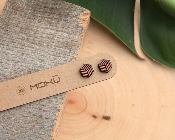 Cube Wooden Stud Earrings