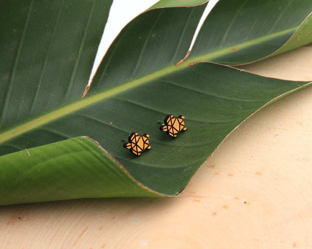 Wood Stud Earrings | Honu | Eucalyptus and Osage Orange