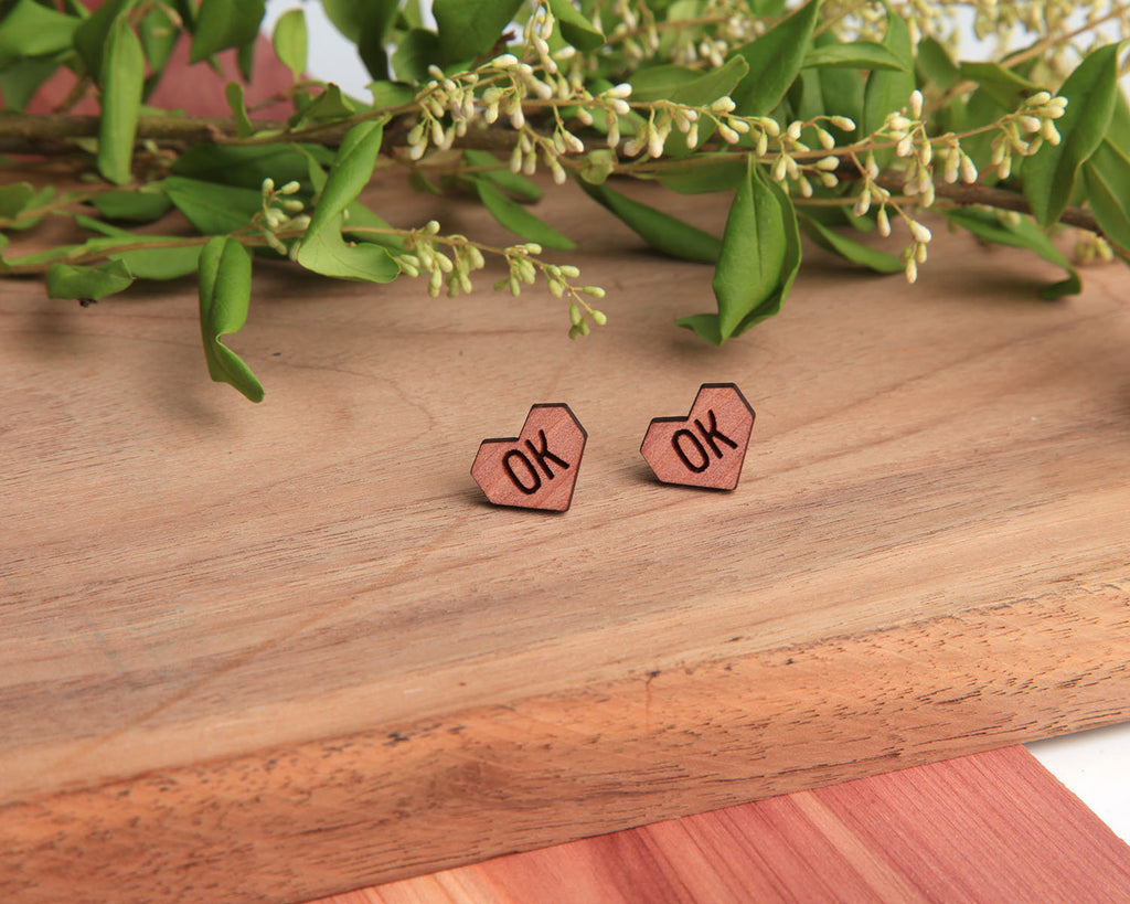 State Heart | Wood Stud Earrings | Cedar and Oak
